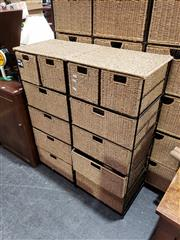 Sale 8988 - Lot 1073 - Pair of Wicker 6 Drawer Chests (H:105 W:45 D:35cm)
