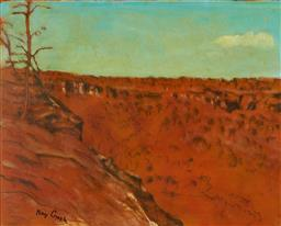 Sale 9123J - Lot 112 - Ray Crooke (1922 - 2015) Valley View, Nth Qld oil on board 40 x 50 cm (frame: 60 x 70 x 3 cm) signed lower left
