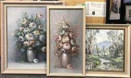 Sale 9106 - Lot 2079 - 3 Works: Two Vintage Still Life Paintings, together with a Creek Scene by Brian Elvish, 71 x 61cm; 66 x 36cm; 50 x 60cm