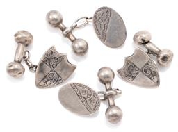 Sale 9145 - Lot 385 - TWO PAIRS OF ANTIQUE SILVER CUFFLINKS; an Australian oval pair with ivy leaf engraving, possibly by Thomas Stokes, other of shield s...