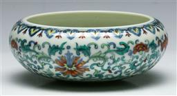 Sale 9138 - Lot 13 - Chinese Doucai Brush Washer featuring bats and lotus scrolls (H:5.5cm Dia:13.5cm)