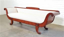 Sale 9162 - Lot 1068 - Biedermeier Style Walnut Lyre Fronted Settee, articulated with roundels, with low back, upholstered black pin-stripe fabric & on out...