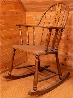 Sale 9191W - Lot 723 - A spindle back rocking chair with vinyl upholstered seat (W; 60cm, D; 46cm, H; 98cm)