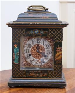 Sale 9190H - Lot 260 - An oriental themed chinoiserie mantle clock, Height 30cm x Width 26cm x Depth 18cm, some restoration work required. Clock mechanism...