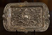 Sale 7981B - Lot 69 - English Hallmarked Sterling Silver Desk tray with profuse mask head decoration