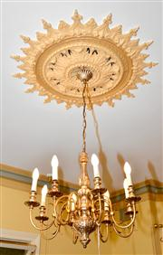 Sale 7997 - Lot 68 - PAIR OF GILDED 8 BRANCHED CHANDELIERS