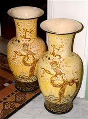 Sale 8080A - Lot 69 - Pair of large yellow Chinese ceramic floor vases,