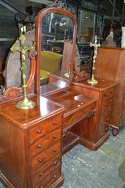 Sale 8093 - Lot 1783 - Victorian Mahogany Pedestal Dressing Table with Two Sets of Four Drawers