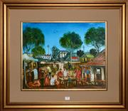 Sale 8098A - Lot 89 - 40) Pro Hart- Picnic Gathering, oil on board, 40x50cm, signed lower right.