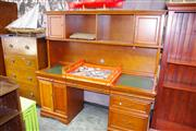 Sale 8129 - Lot 1091 - Modern Twin Pedestal Desk and Hutch With Leather Insert Top
