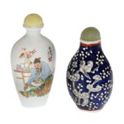 Sale 8132B - Lot 476 - Two Qing style snuff bottles, one with blue and white decoration of birds in blossom, the other depicting a gardener.