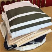 Sale 8310A - Lot 304 - A quantity of quality coloured and striped bed linen, mainly blues and creams, sheets and pillow cases