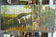 Sale 8362 - Lot 2109 - Santos Peasants in Pastoral Setting, acrylic on canvas, 140 x 270cm, signed lower right