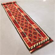 Sale 8445K - Lot 25 - Maimana Afghan Kilim Runner , 385x77cm, Handwoven in Northern Afghanistan using durable local wool. Traditional and reversible slit...