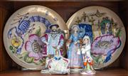 Sale 8650A - Lot 66 - A shelf lot of various wares, including a pair of Hutschenreuther nursery rhyme plates, Diameter 25cm, together with two Sitzendorf ...