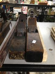 Sale 8765 - Lot 1064 - Two antique timber planes, the larger stamped D. Malloch - Perth, larger 56cm in length