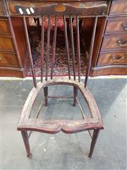 Sale 8792 - Lot 1084 - Edwardian Fruitwood Comb-Back Chair, missing upholstery, raised on turned legs