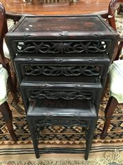 Sale 8882 - Lot 1048 - Nest of Four Chinese Rosewood Occasional Tables, the frames carved as bamboo & matching friezes