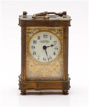 Sale 9044 - Lot 11 - A Carriage Clock with Pierced Gilt Dial with Dragon Decoration Retailed by Sauders H: 12cm