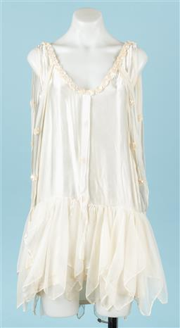 Sale 9092F - Lot 78 - A VINTAGE FLAPPER DRESS; in ivory with sequins to collar, Size Small (stains commensurate with age)