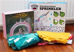 Sale 9134H - Lot 58 - An assortment of outdoor childrens toys including a Unicorn sprinkler, and another.