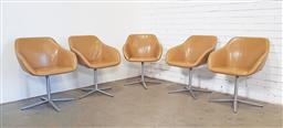 Sale 9151 - Lot 1121 - Set of five Walter Knoll fibreglass framed KYO swivel chairs with leather upholstery (h:80 w:63 d:45cm)