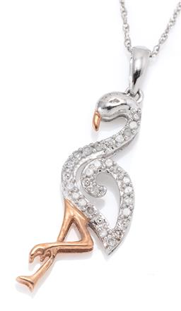 Sale 9164J - Lot 345 - A 10CT TWO TONE GOLD DIAMOND FLAMINGO PENDANT NECKLACE; white gold frame set with 19 single cut diamonds to yellow gold beak and leg...