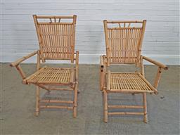 Sale 9174 - Lot 1392 - Pair of bamboo folding chairs (h:97 x w:57 x d:93cm)
