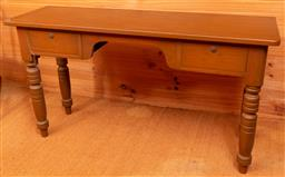 Sale 9191W - Lot 724 - A timber two drawer hall table  (W; 128cm, H; 70cm, D; 40cm)