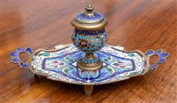 Sale 9190H - Lot 143 - Cloissone inkwell on stand, Length 19cm x Height 10cm