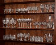 Sale 8088A - Lot 73 - An extensive set of Waterford Glasses for six persons inc red white champagne sherry and whisky tumblers, decanters and water jug (n...