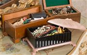 Sale 8375A - Lot 89 - Three decorative boxes containing costume jewellery, including timber and early plastic example