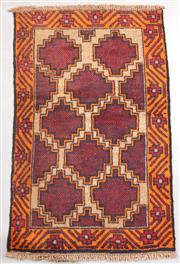Sale 8445K - Lot 26 - Afghan Baluchi Tribal Rug , 134x84cm, Handwoven in Afghanistan using local wool. Highly durable rustic construction. Heavily motifed...
