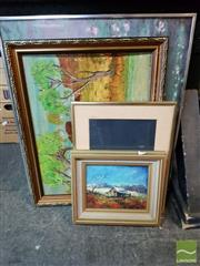 Sale 8471 - Lot 2038 - Group of Assorted Artworks by Various Artists, plus Decorative Print after Monet. (framed/various sizes) (4)