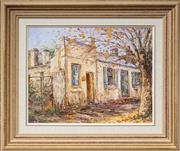 Sale 8522 - Lot 2022 - Patricia Burke (1935 - ) - Old Buildings at Maldon, VIC 34 x 44.5cm