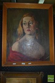 Sale 8522 - Lot 2026 - C. Guthrie - Female Portrait, 1954 49 x 39cm