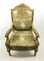 Sale 8545N - Lot 254 - French Style Tapestry Upholstered Gilt Armchair