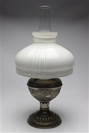 Sale 8739 - Lot 80 - A Juno Kerosene Lamp with Flume and Shade