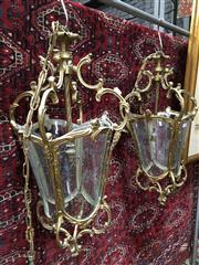 Sale 8882 - Lot 1028 - Pair of Brass Hall Lanterns, of bucket form, with four floral cut glass panels & scrolled supports