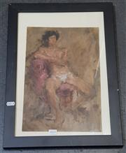 Sale 9036 - Lot 2033 - Artist Unknown - Seated Male Nude in Studio, oil painting, unsigned -