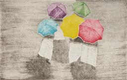 Sale 9109A - Lot 5058 - Christina Cordero - (1938 - ) Umbrellas II, 1985 etching and aquatint, ed. 2/7 20 x 12.5 cm (frame: 45 x 35 x 2 cm) signed and dated...