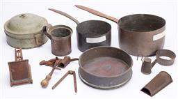 Sale 9185E - Lot 125 - A collection of early metal kitchen wares including copper saucepans
