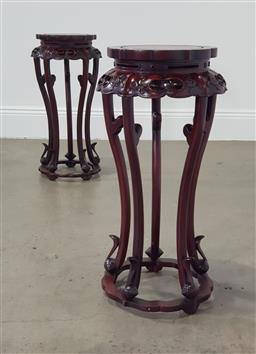 Sale 9255 - Lot 1060 - Pair of Chinese rosewood jardiniere stands (h:65cm)
