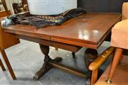Sale 8115 - Lot 1422 - Draw Leaf Table on Stretcher Base