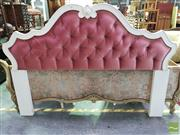 Sale 8545 - Lot 1083 - Carved Timber Bed Head with Button Upholstery