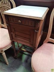 Sale 8634 - Lot 1099 - French Walnut Bedside Cabinet, with white marble top, a drawer & panel door, on turned legs with stretchers