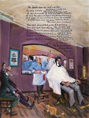Sale 8683A - Lot 5092 - Michael Lodge (1942 - ) - The Barber (verses 2 & 3 from The Man from Ironbark, Banjo Paterson), 2016 70 x 50cm