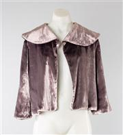 Sale 8740F - Lot 199 - A Wayne Cooper viscose/silk velvet bolero with oversized shawl collar, size 3 (staining to back of right arm)