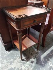 Sale 8774 - Lot 1086 - Louis XVI Style Bedside Table, with brass gallery back, a drawer & lower shelf
