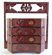 Sale 8980S - Lot 650 - Vintage Chinese Lacquered Fan Shaped  Four Tier Wedding Box H:42cm (some Damage)
